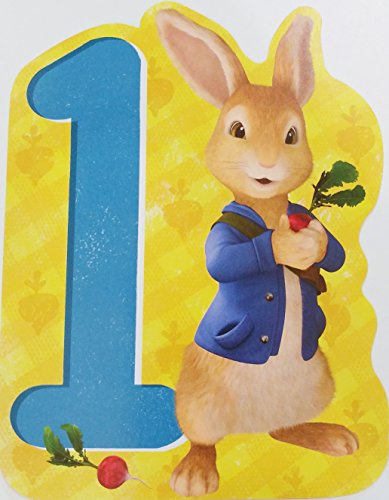 "Price comparison product image Peter Rabbit - Happy 1st First Birthday Greeting Card - ""Hop hop hooray! Youre one today - and so very special in every way!"""