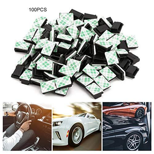 100pcs//lot Management Desk Wall Cord Clamps Adhesive Car Cable Clips Flat Cable Winder Drop Wire Tie Fixer Holder