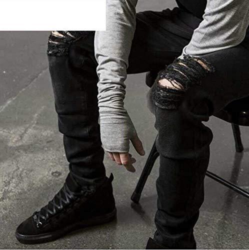 Distrutto Uomo Pantaloni Epoca Jeans Dei Black Nero color Pesante Especial Ripped Size 31 Stretch Di Modo Estilo Svago Skinny 61tr6pq