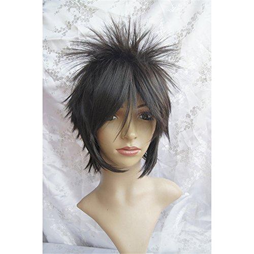 Vintage Gesso (Lanting Cosplay wig Hitman Reborn Byakuran·Gesso Black Short For Men Anime Human Costume Full wigs Synthetic Hair Heat Resistant)