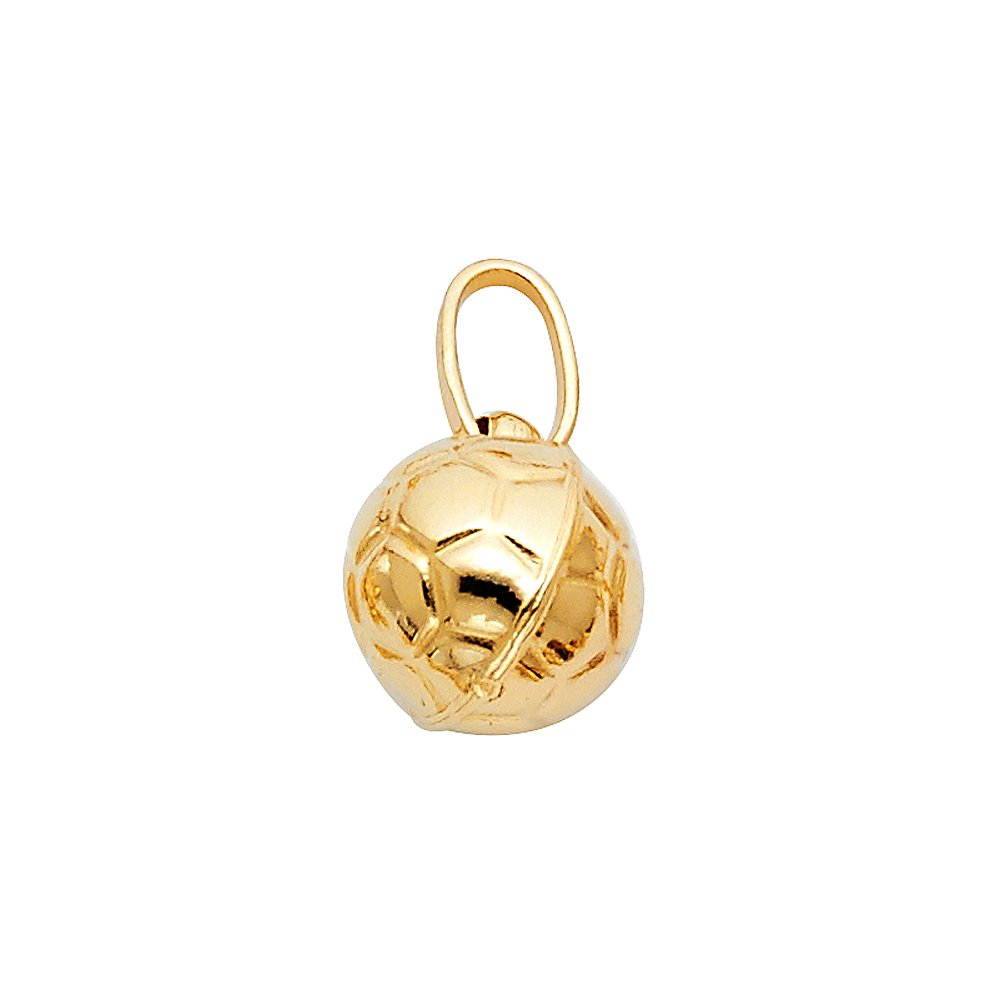 14K Yellow Gold Plain Soccer Ball Charm Pendant with 0.9mm Wheat Chain Necklace