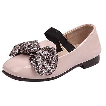 Fille Ballerines Mocassins Doux Princesse Bowknot Brillant Paillettes Chaussures  Bateau, QinMM Bébé Soirée Partie Mariage d7001df949fa