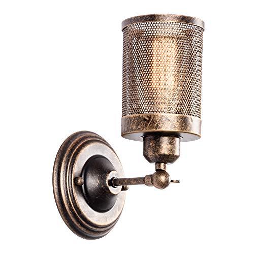 Industriële Wandlamp, LULING Steampunk Metalen Net Lampenkap Interieur Vintage Wandlamp Verstelbare Socket voor Garage…