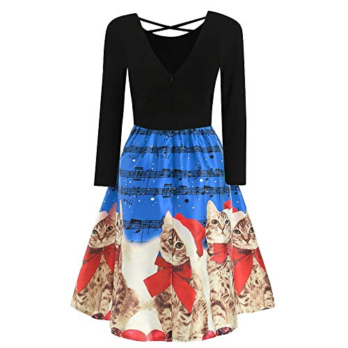 Ximandi Women's Christmas Cats Musical Notes Print Vintage Dress Long Sleeve Party Dress – DiZiSports Store