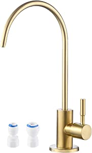 KES RO Faucet Water Filter Faucet Non-Air-Gap Drinking Water Beverage Faucet for Reverse Osmosis Systems Water Filtration System 304 Stainless Steel Brushed Brass, Z504CLF-BZ