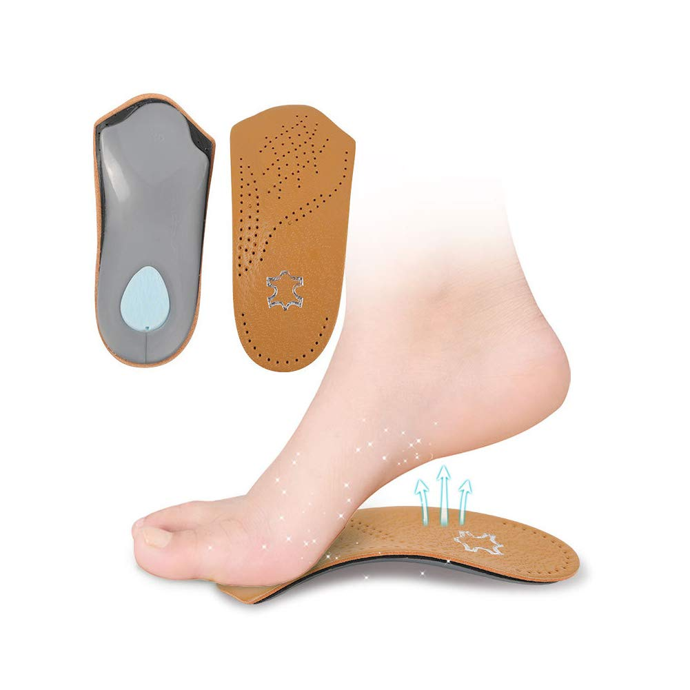 RGA 3/4 Leather Orthotic Inserts with Metatarsal Pad, Arch Support and Padding at The Heel (W7-8 EU37-38) by RGA