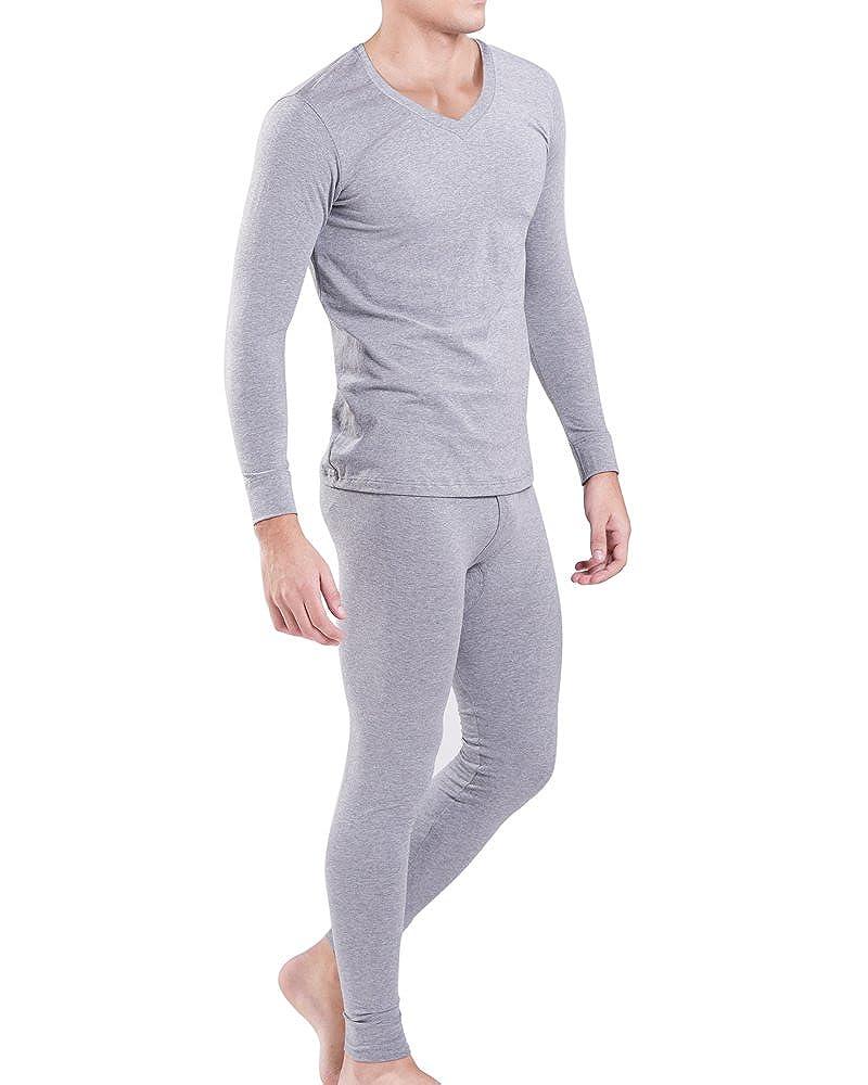 KalvonFu Men's Modal V-Neck Long Sleeve Top & Bottom Thermal Underwear Set K-8935