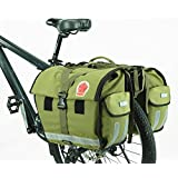 Best Fit For U Roswheel Water-Resistant Fashion Bicycle Bike Rear Seat Rack Trunk Carrier Bag Cycling Double Pannier Bag 50L Army Green