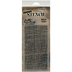 Stampers Anonymous Tim Holtz Layered Stencil, 4.125 by 8.5-Inch, Burlap