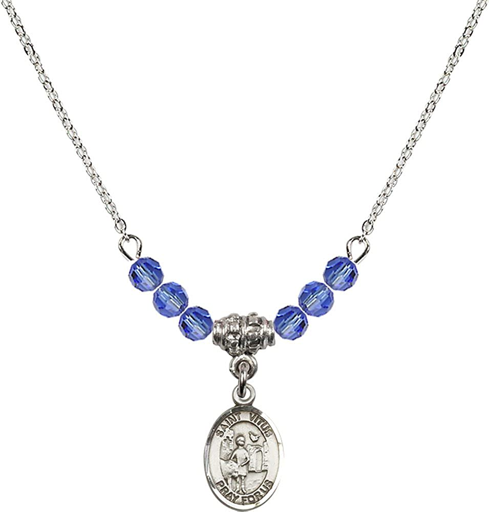 18-Inch Rhodium Plated Necklace with 4mm Sapphire Birthstone Beads and Sterling Silver Saint Vitus Charm.