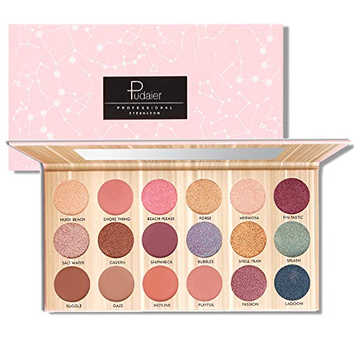 Eyeshadow Palette 18 Colors Highly Pigmented Eye Shadow Palette, 6 Matte + 11 Shimmer + 1 Duochrome, Long Lasting Waterproof Colorful Eyeshadows Cosmetics (Pink) ()
