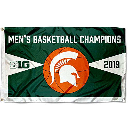 College Flags and Banners Co. Michigan State Spartans 2019 Mens Big Ten Basketball Champions - Michigan National Champions