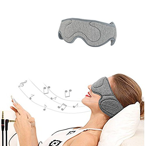 SHUHOME Velcro Adjustable Earphones For Comfortable Wired Sleep Headphones Eye Mask with Built-in HD Audio Speaker, Perfect for Sleeping, Air Travel, Meditation and Relaxation (Dark gary) (Light grey)