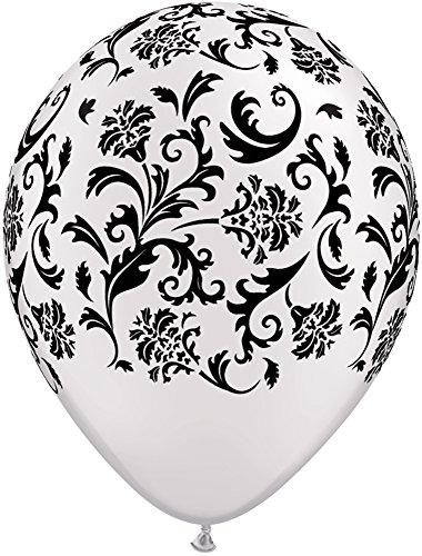 Pioneer Balloon Company 37508.0 37508 DAMASK PRINT - PEARL WHITE W/BLACK INK 11