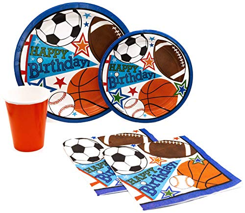 Happy Birthday Sports Pack! Disposable Paper Plates, Napkins and Cups Set for 15 (With free extras)]()
