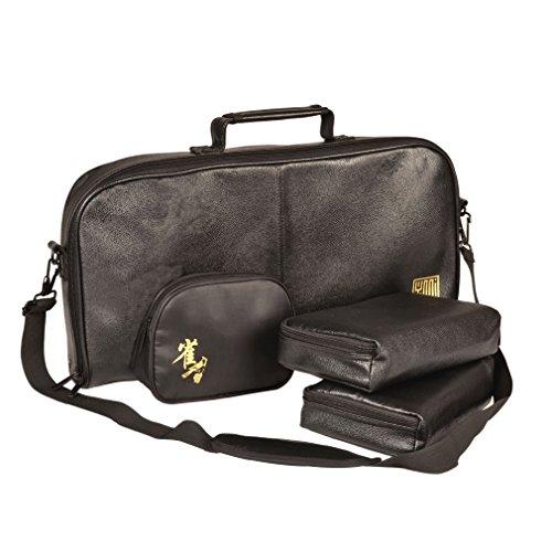 Yellow Mountain Imports Soft Black Leatherette Case for Mahjong (Mah Jong, Mahjongg, Mah-Jongg, Mah Jongg, Majiang) Set,