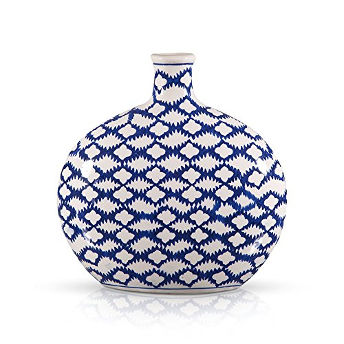 Porcelain Jar Ceramic Floor Flat Vase 10.5-Inch in Classic Blue and White Batik Pattern - Home Decor Accent for your Room, Temple or Store Display Decoration (Blue White Vases Porcelain And)