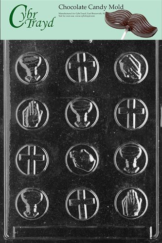 Cybrtrayd R018 Communion Mints Chocolate Candy Mold with Exclusive Cybrtrayd Copyrighted Chocolate Molding Instructions plus Optional Candy Packaging Bundles