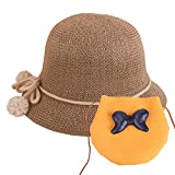 Baby Straw Hat Summer Girls Hat Purse Set Beach Floppy Hats Kids Sun Hat with Bag (Gold)