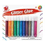 TBC Washable Glitter Glue (10.5ml Each) , Glitter Glue Pens, Art Tools, 12ct, 12 Sparkly Colors, Great for Arts and Crafts
