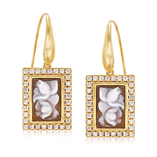 Ross-Simons Italian Shell Flower Cameo and .95 ct. t.w. CZ Drop Earrings in 18kt Yellow Gold Over Sterling Silver