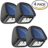 Aptoyu Solar Lights, Outdoor Waterproof Wireless Solar Motion Sensor Security Lights for Driveway Garden Wall Back Door Step Stair Fence Deck Yard Patio, Pack of 4