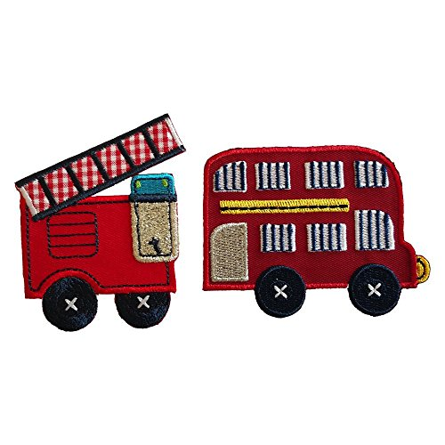 Double Decker Bus 8X6Cm Fire Engine 6X8Cm Iron-On Designer Patch Used For Crafts Jeans Clothing Fabric Gifts To Iron On Christening Birth Application Sports Football Club City Kids Sew On Plate Dress -