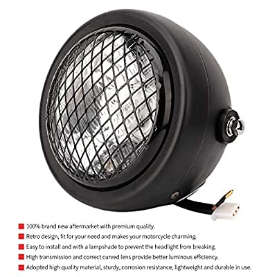 12V Motorcycle Retro Mesh Grill Guard Front Headlight Fit for Chopper Bobber Black: Automotive