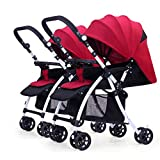 Twin Baby Stroller, Reversible Handle Infant Carriage Can Sit and Lie Down, Lightweight