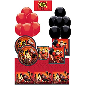 Dessert Plates and Cups Beverage Napkins Straws The Incredibles 2 Party Supplies Pack for 16 Guests
