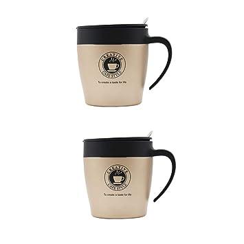 Abcsea dos tazas de café de acero inoxidable con tapa y asa ...