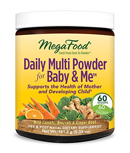 MegaFood - Daily Multi Powder for Baby & Me, Prenatal and Postnatal Support for Healthy Pregnancy for Mother and Child, Vegetarian, Gluten Free, Non-GMO, 60 Servings (5.33 oz) (And Baby Me Megafood)