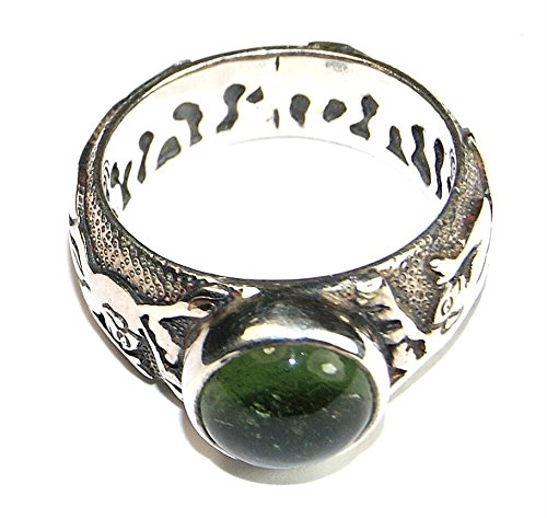 Moldavite Ring Jewellery - Sterling Silver - Pixie Design MOLDR16A03