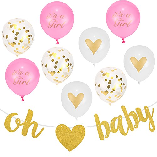 Baby Shower Party Decorations - Baby Shower Décor for Girls - Printed Balloons Décor for Baby Announcement - Includes Pre-Assembled Banner, Ribbons And Letters Strung - Pink, Gold and White Assembly by Babysu