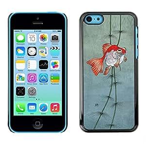 FECELL CITY // Duro Aluminio Pegatina PC Caso decorativo Funda Carcasa de Protección para Apple Iphone 5C // Pond Gold Underwater Fisherman Dive