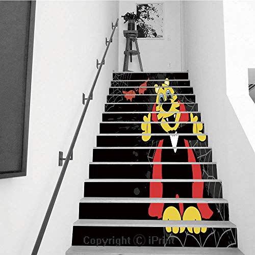Stair Stickers Wall Stickers,13 PCS Self-Adhesive,Stair Riser Decal for Living Room, Hall, Kids Room,Cute Little Tiger Hug Dracula Costume Halloween backgorund ()