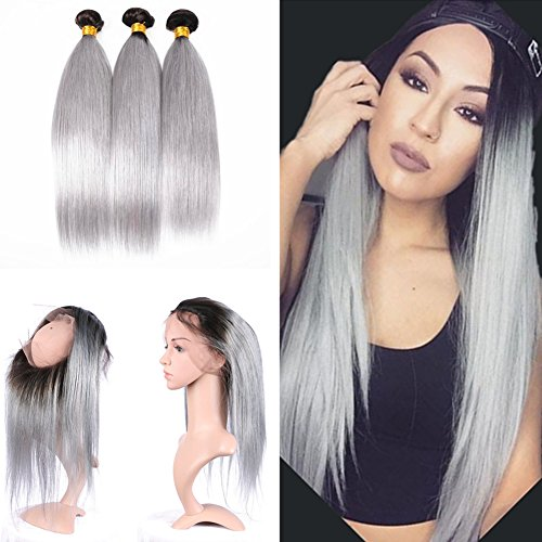 Cloud-Hair-Ombre-Two-Color-1B-Grey-Silky-Straight-Hair-Weaves-3Bundles-With-Dark-Roots-Pre-Plucked-360-Frontal-225x4x2-With-Baby-Hair