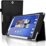 iGadgitz Premium Black PU Leather Folio Case Cover for Sony Xperia Z3 Tablet Compact SGP661 with Multi-Angle Viewing Stand + Auto Sleep/Wake + Hand Strap + Stylus Pen Elastic Holder + Screen Protector