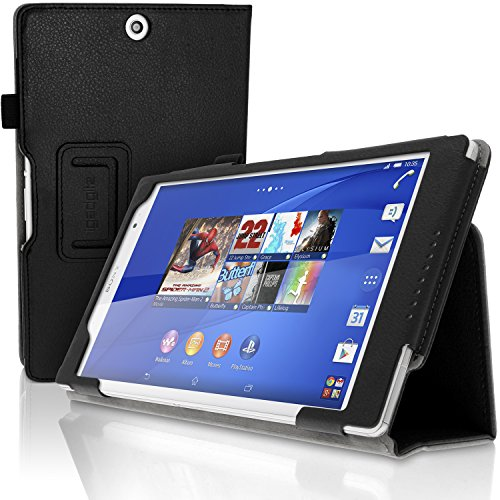 (iGadgitz Premium Black PU Leather Folio Case Cover for Sony Xperia Z3 Tablet Compact SGP661 with Multi-Angle Viewing Stand + Auto Sleep/Wake + Hand Strap + Stylus Pen Elastic Holder + Screen Protector)