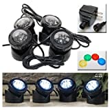 Jebao PL1LED-4 Submersible Pond LED Light with Colored Lenses by Jebao