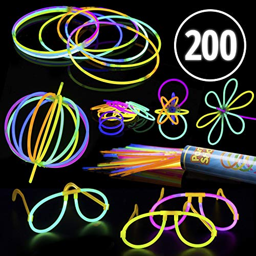 """(PartySticks Glow Sticks Jewelry Bulk Party Favors - 200pk 8"""" Glow in the Dark Light Up Party Supplies, Glow Necklaces or Glow Glasses with Connectors)"""