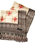 India Handmade Embroidery - Premium Soft Pashmina - Cream with Gray Rim - 80'' X 27'' Wraps / Scarf / Shawl / Tablecloth / Home Decoration