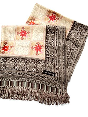 India Handmade Embroidery - Premium Soft Pashmina - Cream with Gray Rim - 80'' X 27'' Wraps / Scarf / Shawl / Tablecloth / Home Decoration by SukSomboonShop