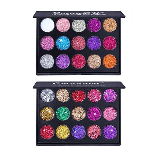 2Pcs Shimmer Glitter Cosmetic Powder Eyeshadow Palette Makeup Set Matt (Multicolor) for $<!--$5.78-->