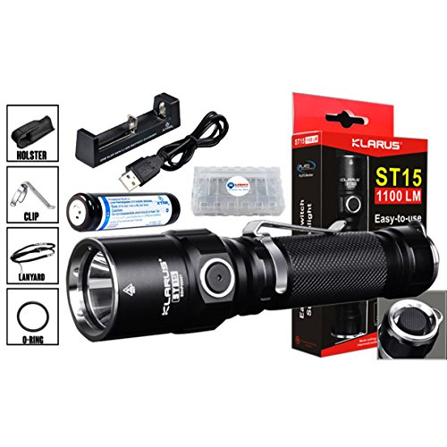 Klarus ST15 1100 Lumens CREE XP-L HI V3 LED Tactical Flashlight w/ 1x Xtar 18650 Li-ion Battery, Xtar MC1 Charger and Lightjunction Battery Case