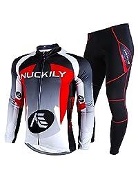 NUCKILY Men's Bicycle Jersey Set Long Sleeve Fleece Cycling Jersey Pants Suit Winter