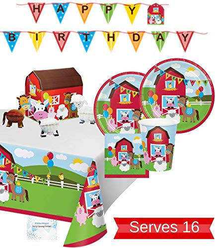 Farm Party Supplies - Plates Cups Napkins Tablecloth Banner and Centerpiece for 16 People - Perfect Barnyard Farm Party Decorations for Farm Animal Birthday!