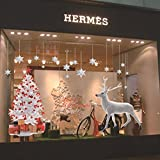 Reindeer Snowflake Christmas Wall Decal Christmas Decoration Decal Window Stickers Home Decor for Home Hotel Bar and Store's Display Window (003)