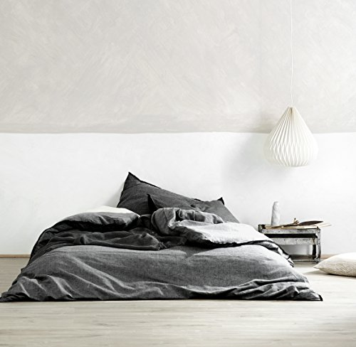 Price comparison product image Washed Cotton Chambray Duvet Cover Solid Color Casual Modern Style Bedding Set Relaxed Soft Feel Natural Wrinkled Look (Queen, Dark Grey)