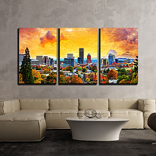 Portland Oregon Downtown City During Sunset in the Fall Season Abtract Painting x3 Panels